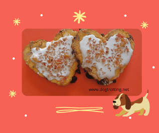 two heart shaped dog cookies