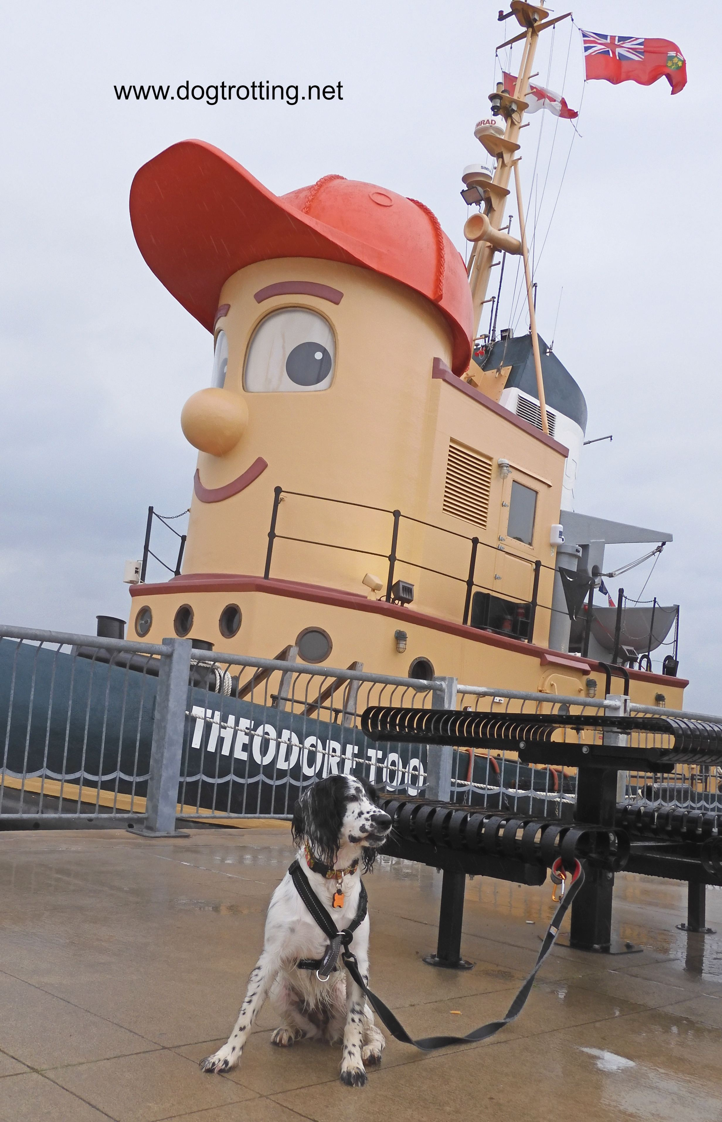 A Tugboat designed with a face and red baseball cap to resemble Theodore Too Tugboat TV show character with black and white dog from dogtrotting.net blog