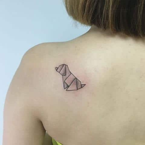 origami dog tattoo