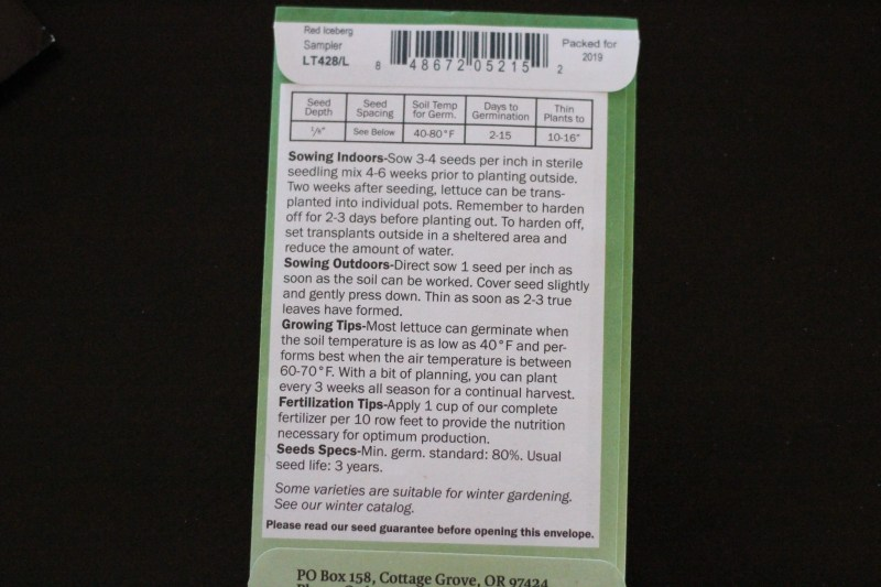 Learn how to read a seed packet.  Great for beginning gardeners.