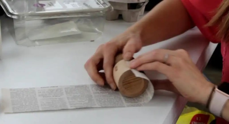 Newspaper can be used to make a seed starting pot