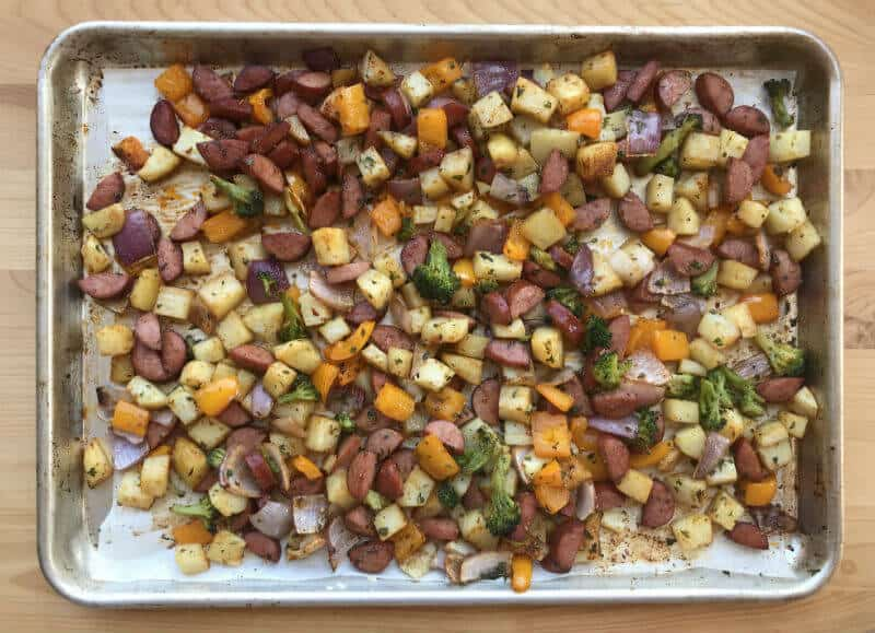 Sheet pan supper ready to eat
