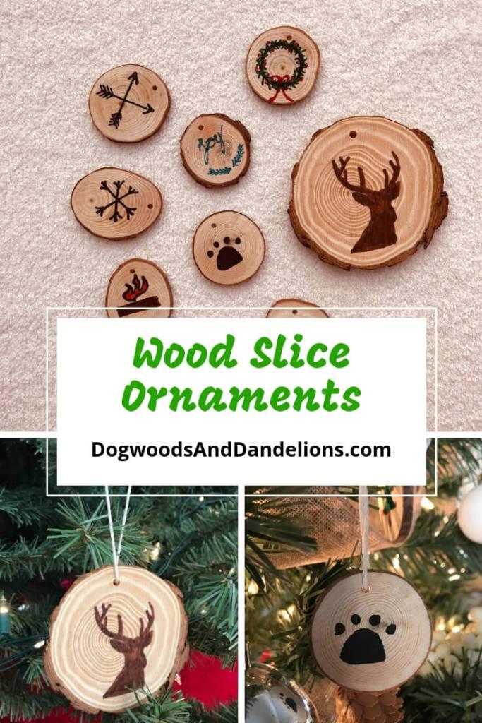 wood slice ornaments in various designs