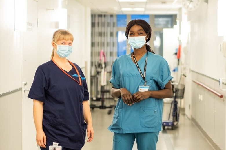 Rahil and her colleague Elina in the hospital