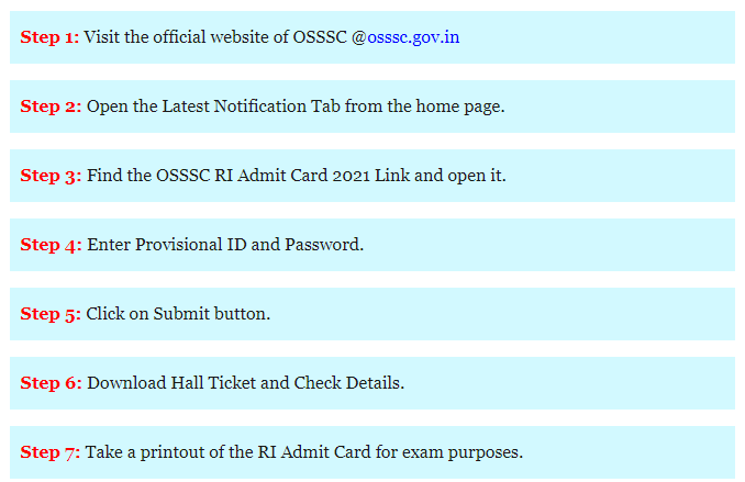 how to download OSSSC RI Exam Admit Card 2021