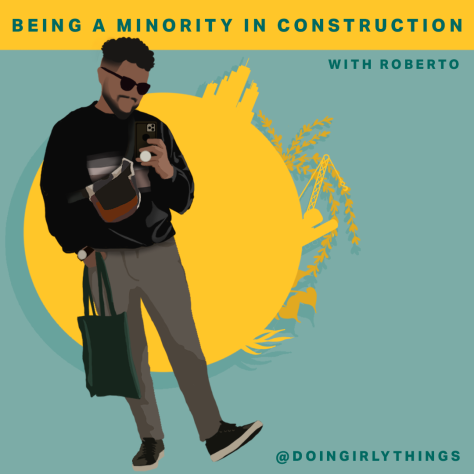 minority in construction puerto rican wearing a black sweater from the podcast doin girly things