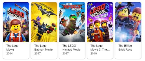 Lego Movies list