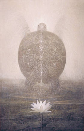 "Painting of a turtle and lotus flower, titled ""Immortal Water"""