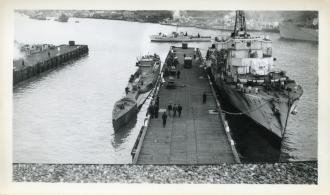 U-190 and HMCS Arnprior in St. John's Harbour, June 1945