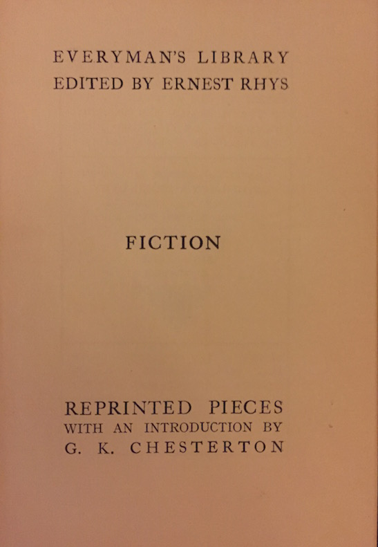 A strange title and an introduction by G. K. Chesterton.