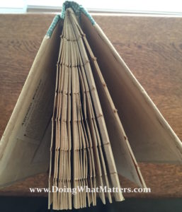 Handmade clothbound book by Edith Hanes, top view.