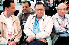 Juca Kfouri com Sérgio Cabral, Ruy Ostermann e Luís Fernando Veríssimo na Copa da Itália, em 1990.
