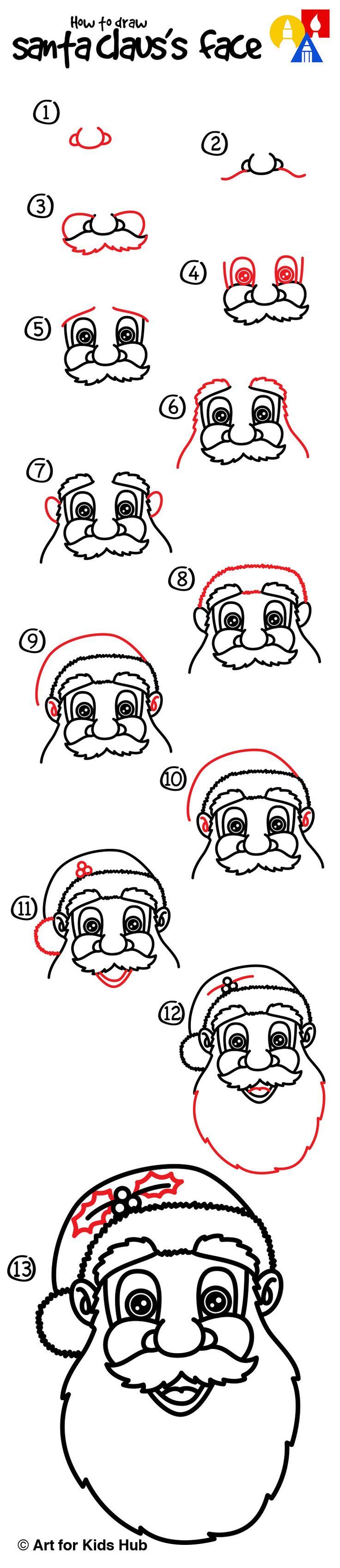 Dessiner facilement un Père Noël Dessin pere noel facile