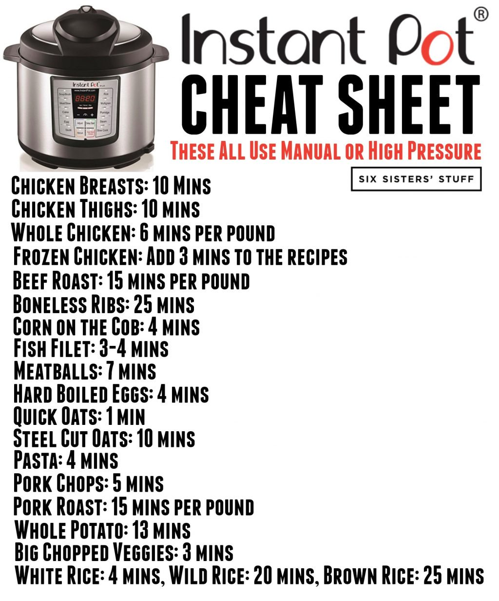 Instant Pot Cheat Sheet Do It And How