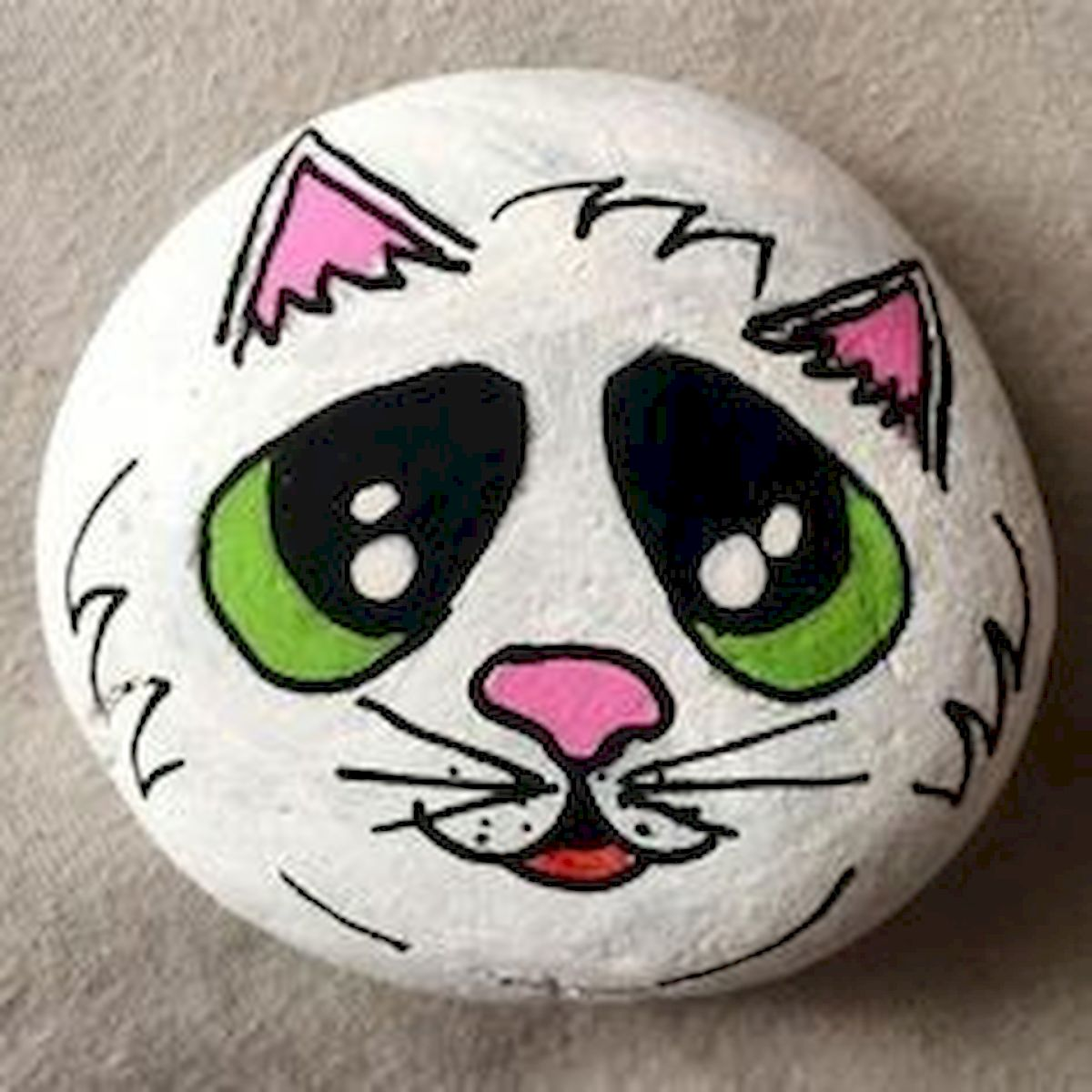 50 Best DIY Painted Rocks Animals Cats for Summer Ideas (32)