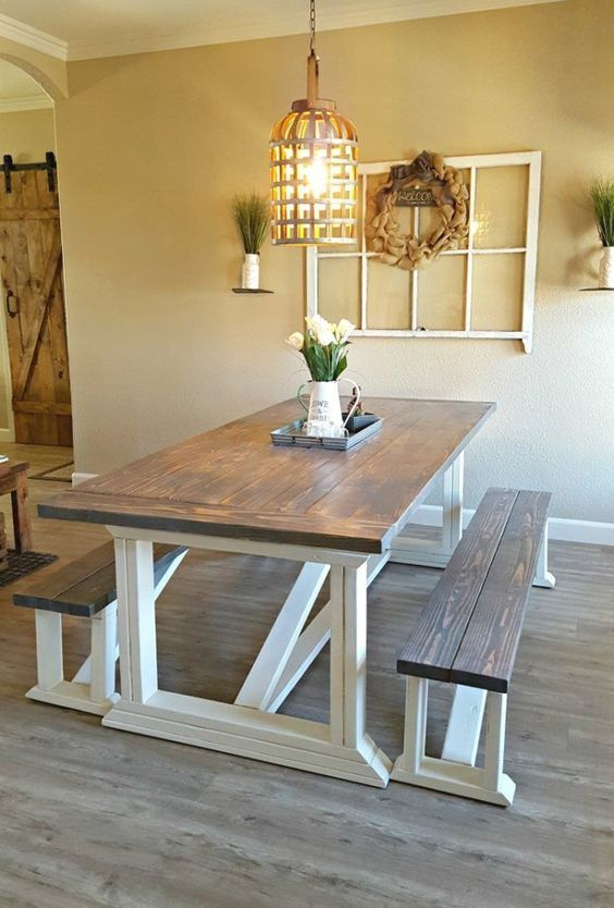 20 Beautiful Farmhouse Dining Room Table Decor Ideas and Remodel (16)