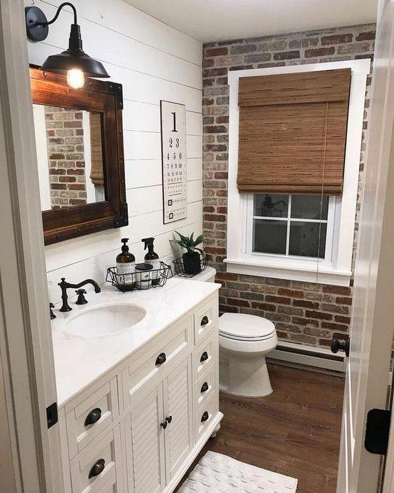 20 Best Farmhouse Bathroom Lighting Decor Ideas and Remodel (9)