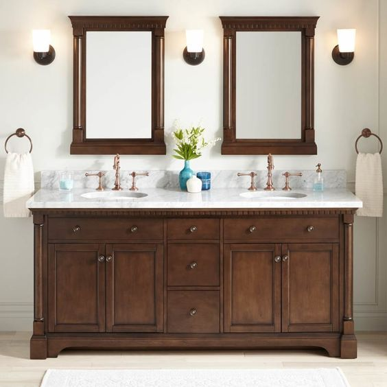 20 Stunning Farmhouse Bathroom Vanity Decor Ideas and Remodel (14)