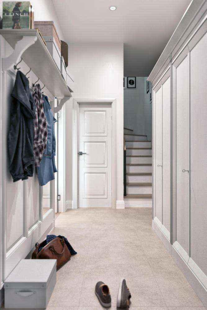 1-1-hallway-entrance-hall-mudroom-modern-light-scandinavian-style-interior-gray-white-walls-built-in-closet-coat-rack-shoe-box-shelf-townhouse | Стильный таунхаус с дизайном в смешанном стиле в Подмосковье