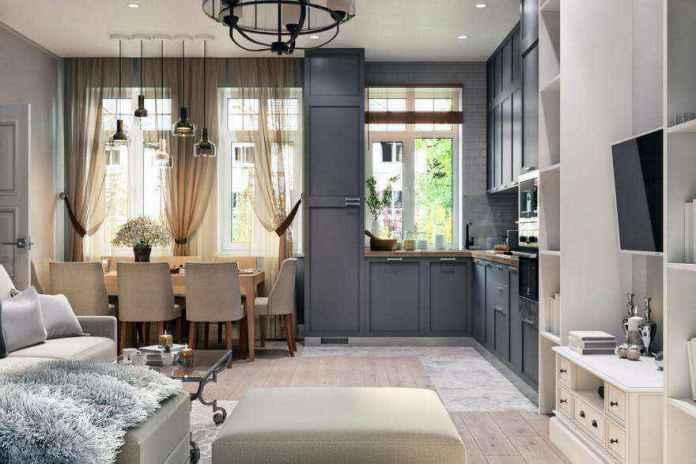 2-1-modern-light-scandinavian-style-interior-open-plan-concept-living-room-dining-room-kitchen-gray-beige-cabinets-tv-set-lounge-dining-table-chairs-three-windows | Стильный таунхаус с дизайном в смешанном стиле в Подмосковье