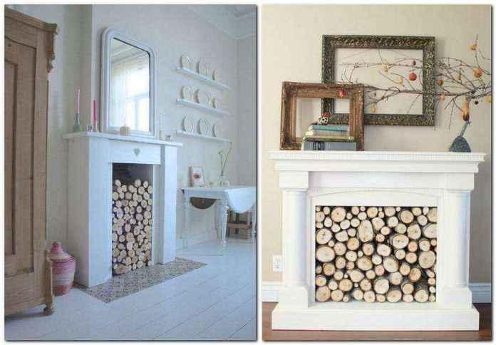 3-2-wood-cross-sections-tree-trunk-home-decor-interior-log-firewood-faux-fireplace-ideas | Идеи фальш-каминов: создание, декорирование и начинка