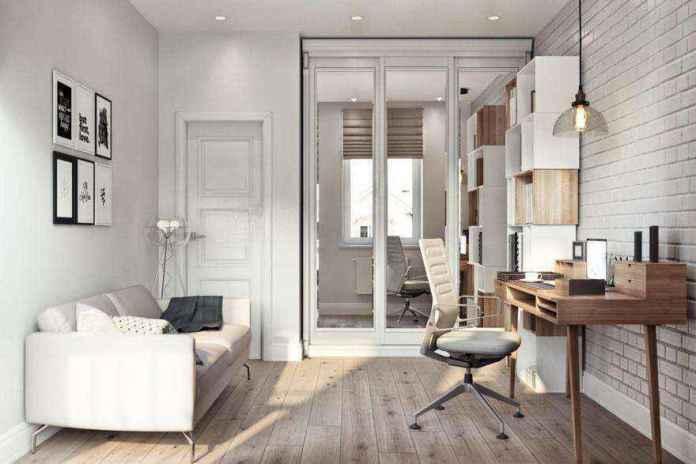 3-4-modern-light-scandinavian-style-interior-study-home-office-work-area-faux-brick-wall-masonry-asymmetrical-shelves-sofa-glass-floor-lamp-desk-chair-built-in-closet-pendant-lamp | Стильный таунхаус с дизайном в смешанном стиле в Подмосковье