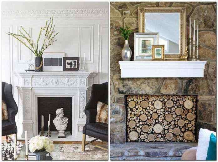5-2-mantepiece-shelf-surround-plaster-display-photo-frames-mirror-faux-fireplace-ideas | Идеи фальш-каминов: создание, декорирование и начинка