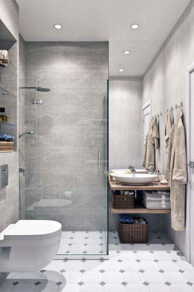 5-2-modern-light-gray-and-white-scandinavian-style-interior-bathroom-walk-in-glass-shower-cabin-wall-mounted-toilet-wc-wooden-countertop-wicker-baskets-robes-top-mounted-sink-wash-basin | Стильный таунхаус с дизайном в смешанном стиле в Подмосковье