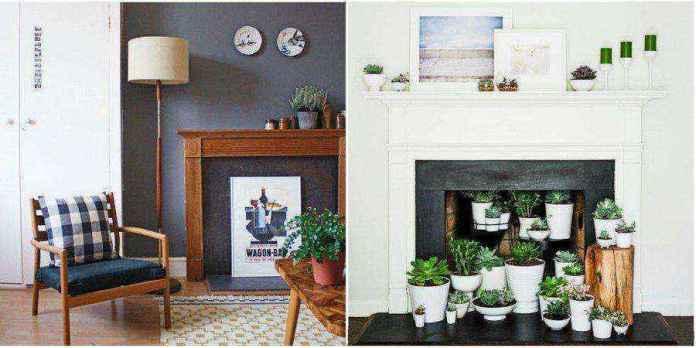 5-4-flower-pots-succulents-display-shelf-mantelpiece-home-garden-indoor-faux-fireplace-ideas | Идеи фальш-каминов: создание, декорирование и начинка