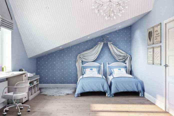 6-2-modern-light-blue-gray-scandinavian-style-interior-kids-room-girls-attic-floor-sloped-ceiling-bedroom-wallpaper-chandelier-canopy-two-beds-desk-chair-fur-rug | Стильный таунхаус с дизайном в смешанном стиле в Подмосковье
