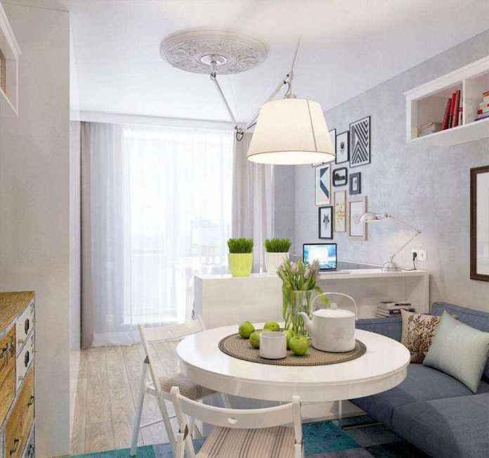8-1-light-grayish-blue-studio-apartment-interior-design-in-modern-style | Как сделать удобной студию площадью всего лишь 25 квадратных метров? Узкая и маленькая студия