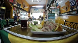C e v i c h e ! (typical Peruvian food: fresh raw fish in lemon juice)