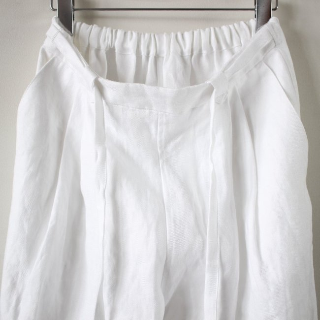 TUKED WIDE PANTS #white
