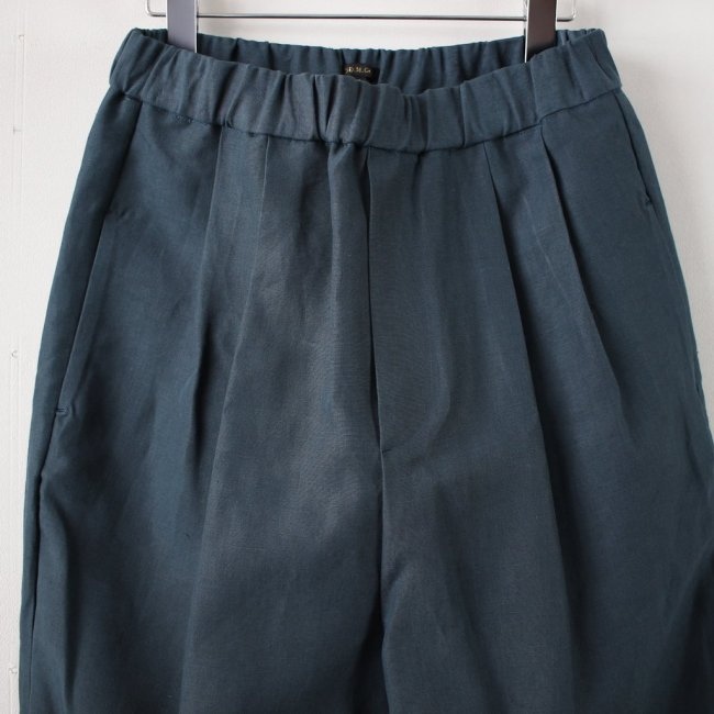 高密度LINEN WIDE TAPERED GOM PANTS #green