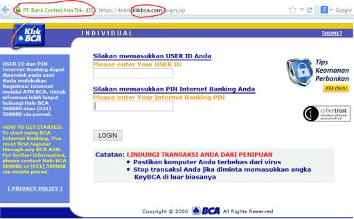 Tampilan Web Phishing