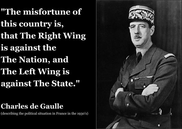 """The misfortune of this country is,  that The Right Wing  is against the  The Nation, and  The Left Wing is against The State.""  Charles de Gaulle (describing the political situation in France in the 1930's)"