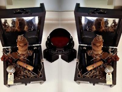 coffin box mirror vudu doll