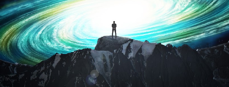 Silhouette of a man on a mountain against the background of a new galaxy