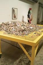 steel table, audio, puzzle pieces