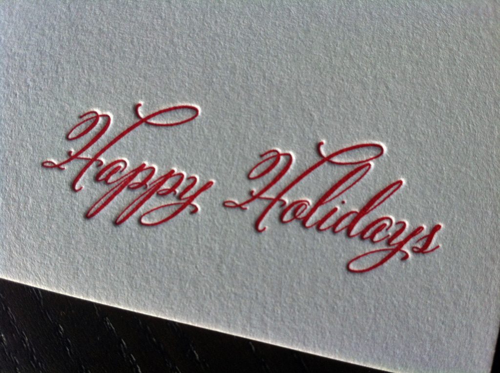 Flocking Stockings Letterpress Holiday Card Dolce Press