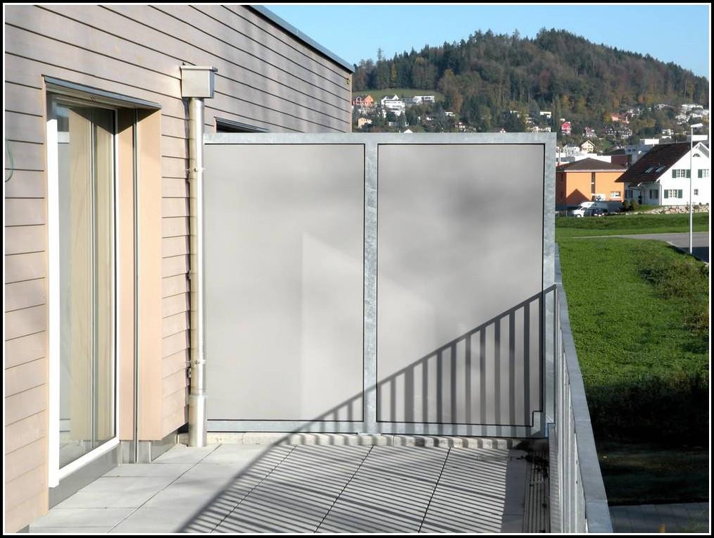 Balkon Sichtschutz Glas Edelstahl