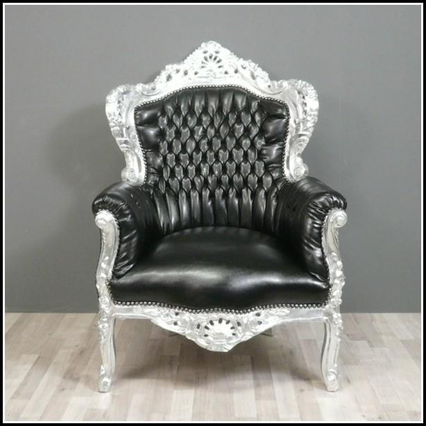 Barock Sessel Schwarz Silber
