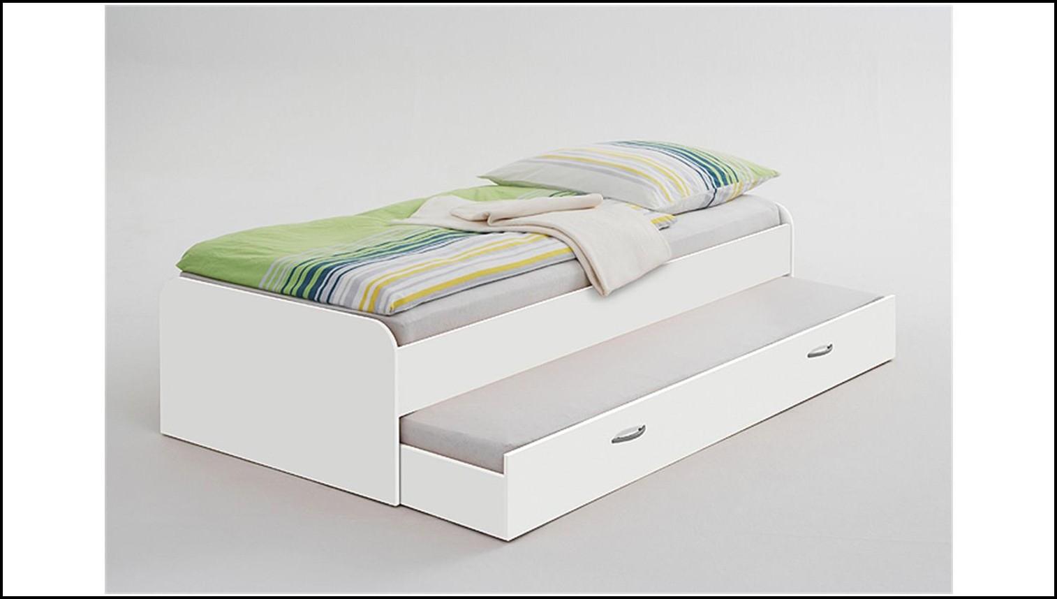 Bett 90×200 Weiß Massiv