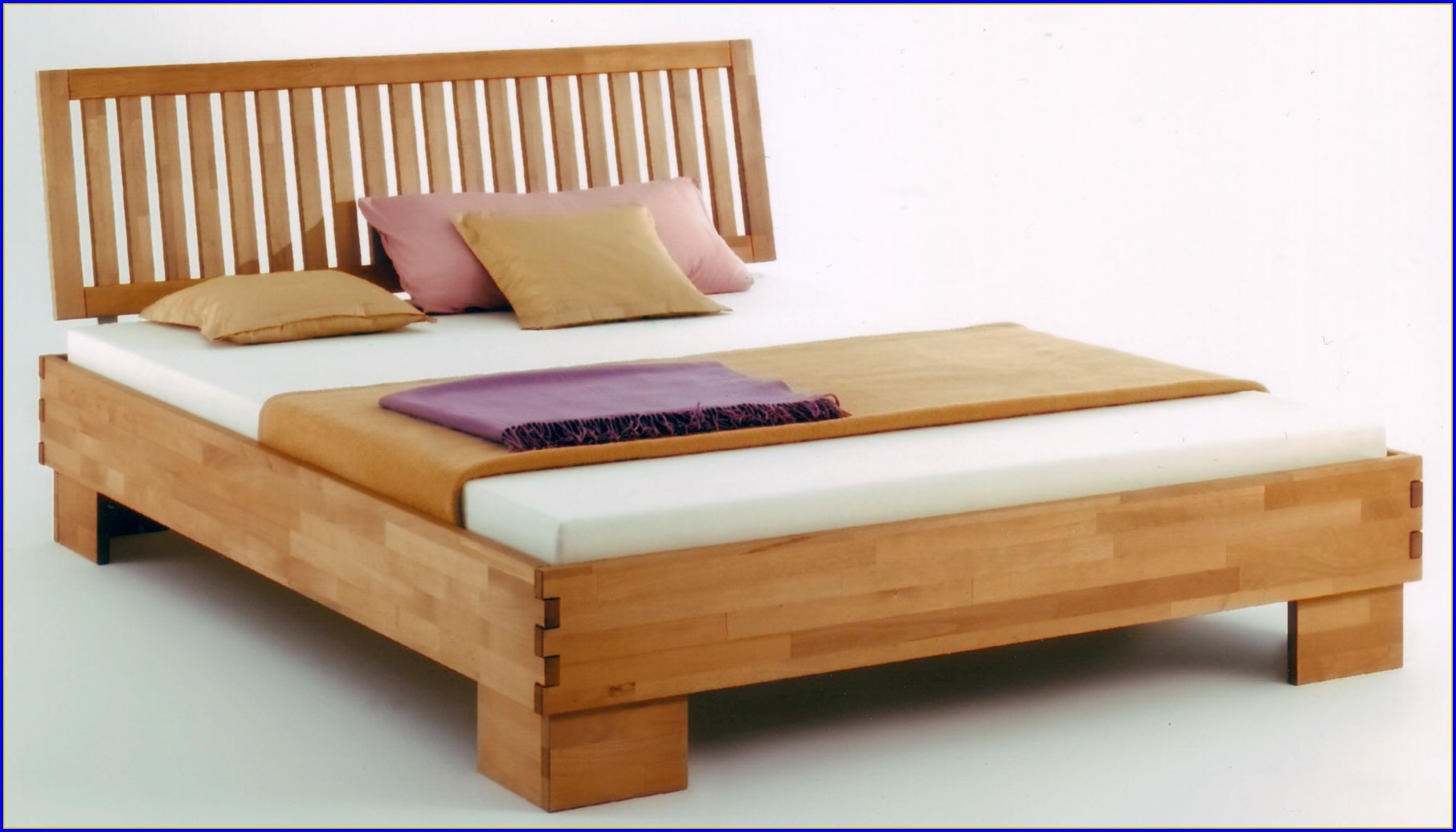 Bett Massiv Holz Weiß