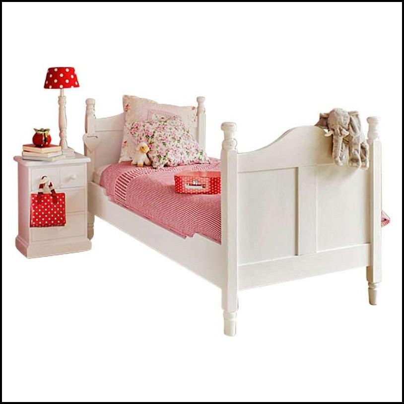 Bett Massivholz Weiß Lasiert