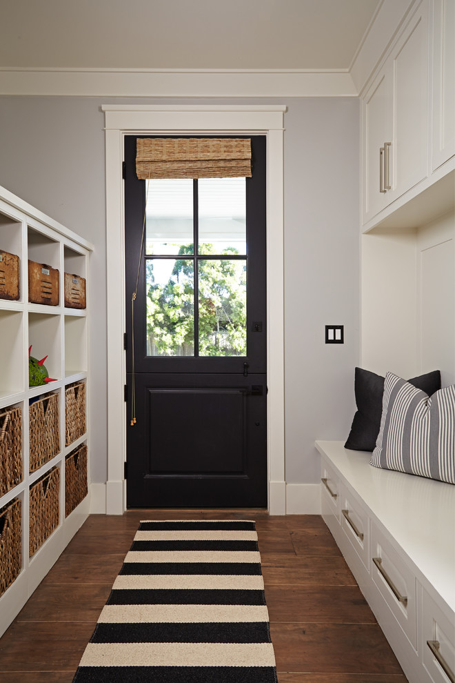 Black Entry Bench With Baskets