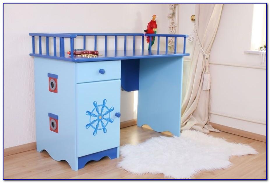 Blaue Schreibtischplatte