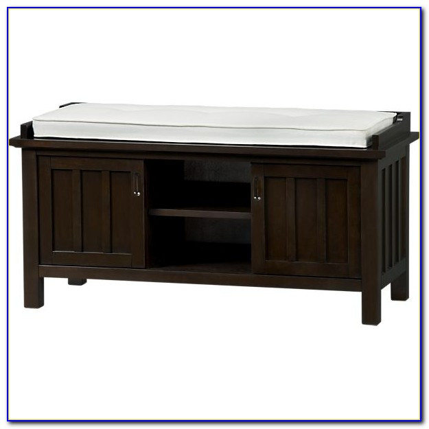 Cushioned Storage Bench With 3 Cubbies And Drawers