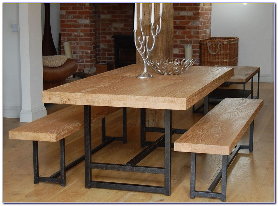 Dark Wood Dining Table With Bench
