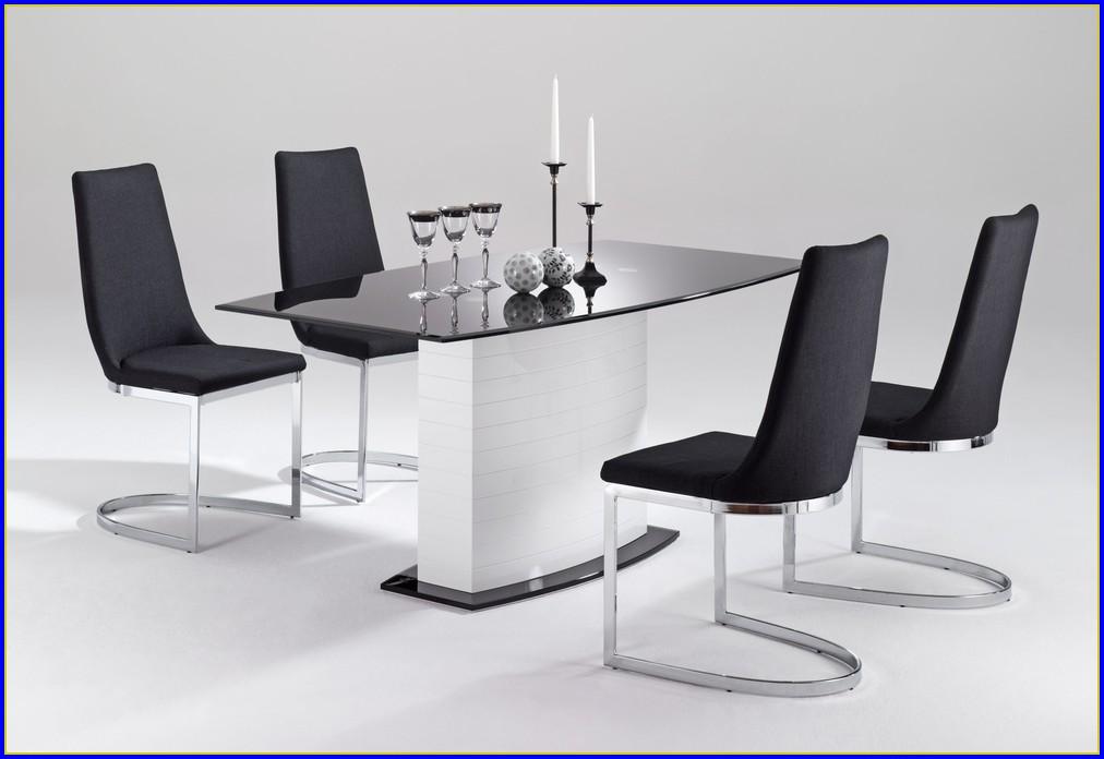 Design Esstisch Schwarz Glas